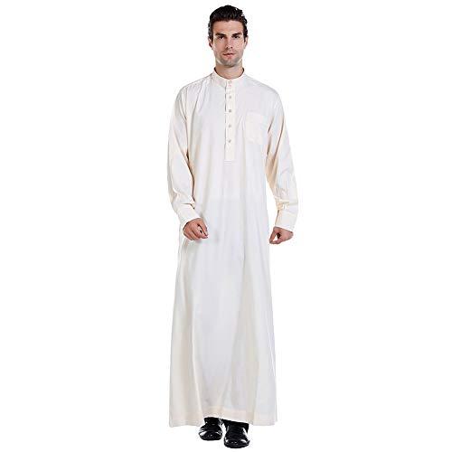 Xinvivion Trachten Männer Muslim Thobe Saudi-Arabien Normallack Standplatz Kragen Robe Islamische Ethnische Kleidung