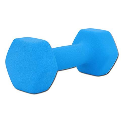 LUSTAR Mancuerna Hexagonal de Neopreno, Azul para Entrenamiento de Levantamiento de Pesas Fitness Pesas de Gimnasio en Casa 0.5KG 1KG 1.5KG 2KG 3KG 4KG 5KG,Blue-(1.5KG*1)