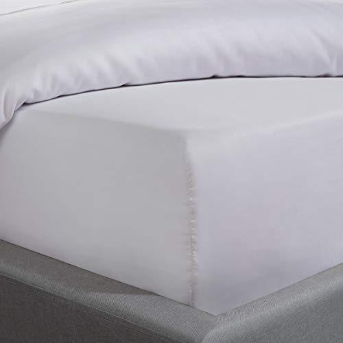Sleepdown Sábana Bajera de satén de algodón 100% hipoalergénico, 35 cm de Profundidad, 300 Hilos, Color Blanco