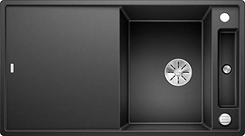 Blanco Axia III 5 S, Küchenspüle aus Silgranit PuraDur, reversibel, Anthrazit-schwarz / mit InFino-Ablaufsystem, inklusive Glas-Schneidbrett und Ablauffernbedienung; 523215