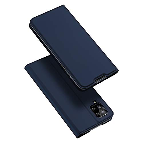 DUX DUCIS Cover Samsung Galaxy A12, Flip Caso Custodia Pelle PU con [Funzione Stand] [Slot Cart] [Magnetica] per Samsung Galaxy A12 (Blu)