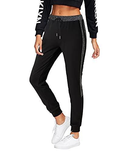 BFUSTYLE Damen Jogginghose Frauen Baumwolle Sporthose Schwarz Lang Sweatpants Casual Yoga Hosen Trainingshose Freizeithose mit Bündchen Joggers Pants M