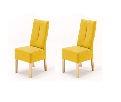 Robas Lund Stühle 2er Set Gelb Curry, Küchenstuhl mit Kunstlederbezug, Stuhlbeine Massivholz Buche, Stuhl Fabius