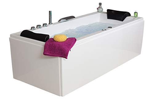 Whirlpool Badewanne Relax Basic MADE IN GERMANY 140 / 150 / 160 / 170 x 75 cm mit 14 Massage Düsen + LED Beleuchtung Licht + dhW + MIT Messing Armaturen verchromt Eckwanne rechts links Eckbadewanne