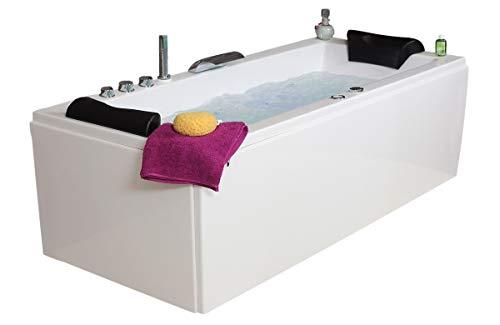 Whirlpool Badewanne Relax Basic MADE IN GERMANY 180 / 190 / 200 x 80 / 90 cm mit 16 Massage Düsen + Unterwasser LED Beleuchtung / Licht + Balboa + MIT Messing Armaturen