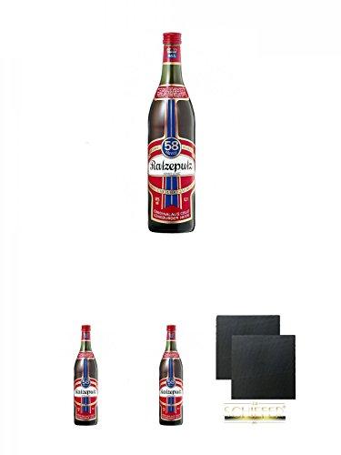 Ratzeputz Kräuterlikör 0,7 Liter + Ratzeputz Kräuterlikör 0,7 Liter + Ratzeputz Kräuterlikör 0,7 Liter + Schiefer Glasuntersetzer eckig ca. 9,5 cm Ø 2 Stück