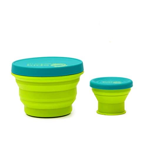 PZJ-2 pcs Tazas de Viaje Silicona Plegable Portátil y Reutilizable,Vaso con Tapa sin BPA para Camping Senderismo y Viaje,Verde