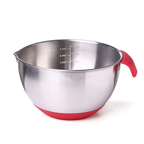 MMJJQWE Stainless Steel Mixing Bowls,Pour Spout, Engraved Measuring Marks, Non Slip Silicone Base, Best for Mixer,Salad, Cooking, Baking