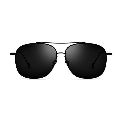 CEyyPD Ultraligeros de titanio puro masculino conductor gafas de conducción gafas de sol cuadradas polarizadas mujeres marco negro gris lente protección UV400