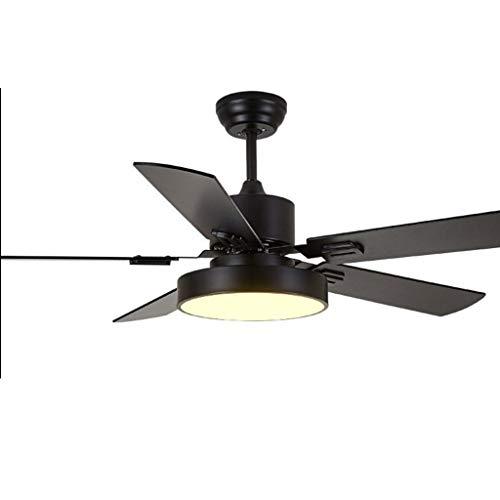 BingWS Plafondventilatoren met verlichting, voor huishouden, 5 vellen, plafondventilator, lage vloer, plafond, woonkamer, Nordic led-afstandsbediening
