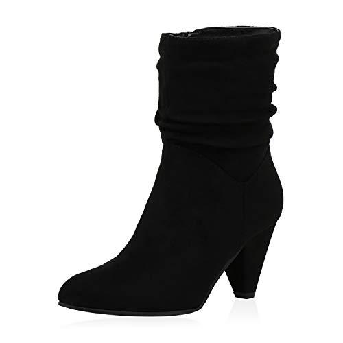 SCARPE VITA Damen Klassische Stiefeletten Leicht Gefütterte Stiefel Chunky High Heels Wildleder-Optik Schuhe Slouch Boots 187121 Schwarz 35