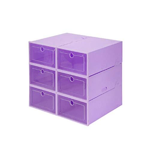 Cajas de almacenamiento de zapatos 6 piezas Caja de zapatos de plástico transparente Contenedor de almacenamiento resistente Cajas de zapatos ordenadas Organizador de soporte de zapatos,Púrpura,S
