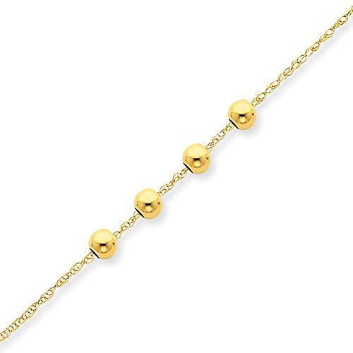 14ct geel goud gepolijst lente ring met 4 4mm kraal ketting sieraden geschenken voor vrouwen - 46 Centimeters