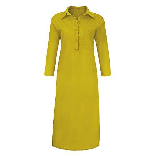 Kleidung t Shirt Kleid Damen Batik Kleid Tshirt Kleider Damen Damen Kleider Elegant Schwangerschaftskleider Fotoshooting Etuikleid Damen Elegant Damen Kleider Elegant(Gelb,L)