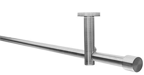 Gardinenstangen-Set, Ø 16 mm, geeignet zur Deckenbefestigung oder Wandbefestigung, 1-läufig Metall Edelstahl-Optik, 80 cm