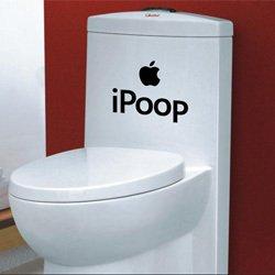 I déjections canines Funny WC Autocollant 20 cm Noir X1