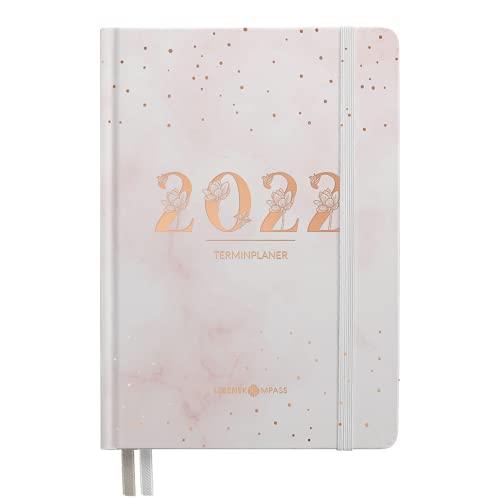 """Kalender 2022 A6 """"BLUSH"""" Lebenskompass® - Terminplaner 2022 mit 2 Lesebändchen & Gummiband - Jahresplaner Taschenkalender als Lebensplaner - Achtsamkeit Terminkalender Planer 2022"""