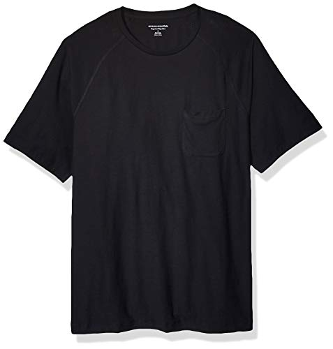 Amazon Essentials T-Shirt für Herren, Regular-Fit, Raglan-Ärmel, Rundhalsausschnitt, Black, US M (EU M)