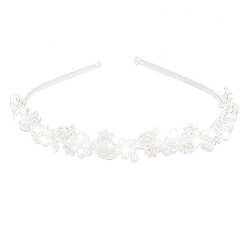 Tinksky Hochzeit Braut Strass Haarreifen mit Pearl verziert Tiara Haar Haarspangen Silber Haar Schleife