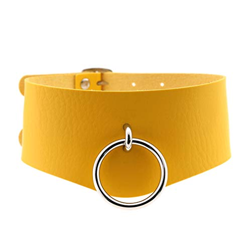 QPLNTCQ Punk O-ring Posture O Ring Collar Restraint Head BDSM Erotische afsluitbare Choker Female Kuisheidsgordel (Color : Yellow, Size : Free)
