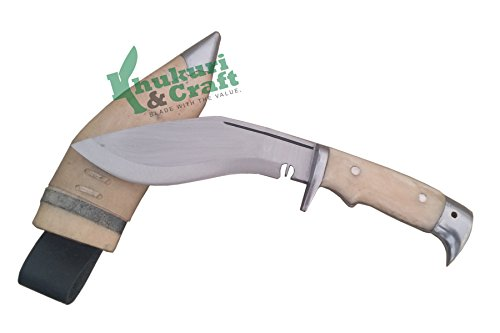 "Khukuri & Craft 6"" Blade American Eagle Bone Handle Best kukri White Sheath Working,Military Knives,Handmade, Nepal"