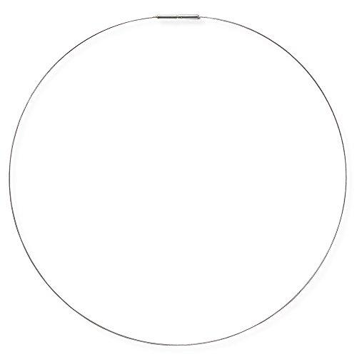 Drachenfels Luxus Halsreif aus Edelstahl | Flexibler Halsreif aus Stahl | Eleganter einreihiger Edelstahlreif mit Bajonettverschluss 1,5 mm (Silber, 42)