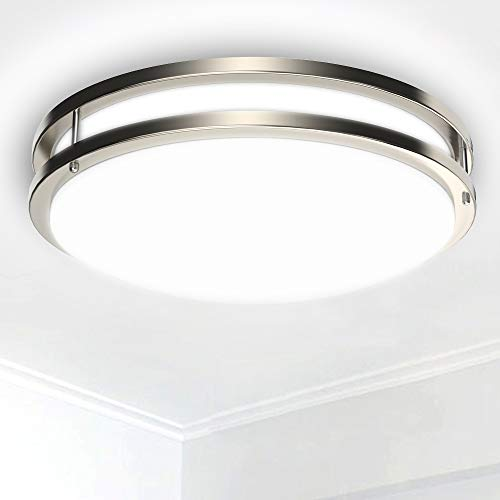 Depuley 30W Flush Mount LED Ceiling Light, 3000K~6000k 3 Color Dimmable Ceiling Lighting, Ø14Inch Nickel Ceiling Lights Fitting with Remote Control for Kitchen, Living Room, Bedroom, Hallway