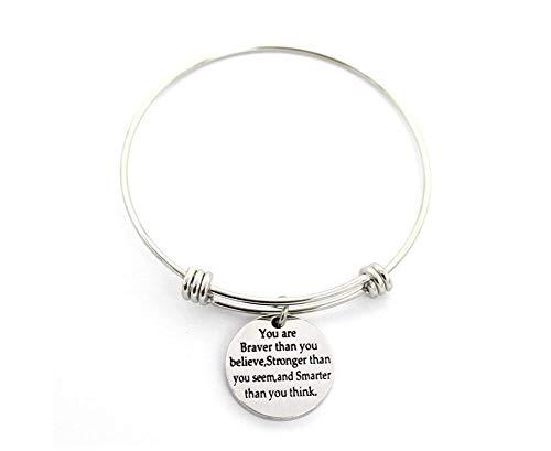 Cathercing Inspirationele Gegraveerde Armbanden voor Vrouwen Meisjes Vrouwen Motivationele Manchet Armband Verstelbare Gepersonaliseerde Mantra Zilveren Armband Enkel Aanmoediging Sieraden Gift voor Haar Moeder