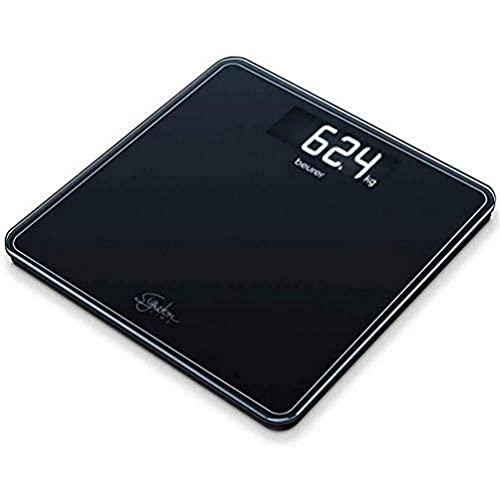 Beurer GS400 Blanca Báscula Digital De Vidrio, Vidrio Seguridad 8Mm, 200Kg /100 g, Pantalla LCD Retroiluminada Grandes Dígitos 3.9 cm, Apagado Automático, Color Negro