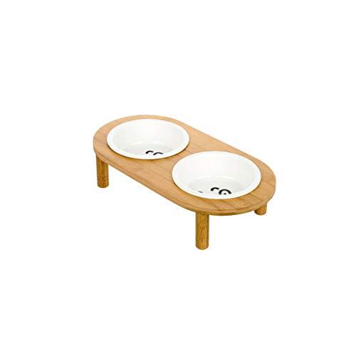 CXQ Hundenapf Cat Bowl Keramik Trinkschale Bambus Regal Cat Food Hundefutter Pet Heimtierbedarf