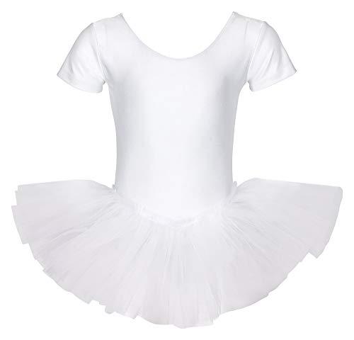 tanzmuster ® Ballettkleid Mädchen Kurzarm - Alina - (Größe 92-170) Tutu aus glänzendem Lycra Ballett Trikot Ballettbody in weiß, Größe 128/134