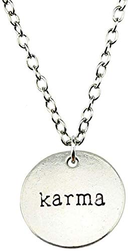 ZHIFUBA Co.,Ltd Necklace Simple Jewelry 20mm Karma Pendant Necklace for Women Gift 2 Colors Antique Silver Color Antique Bronze Plated