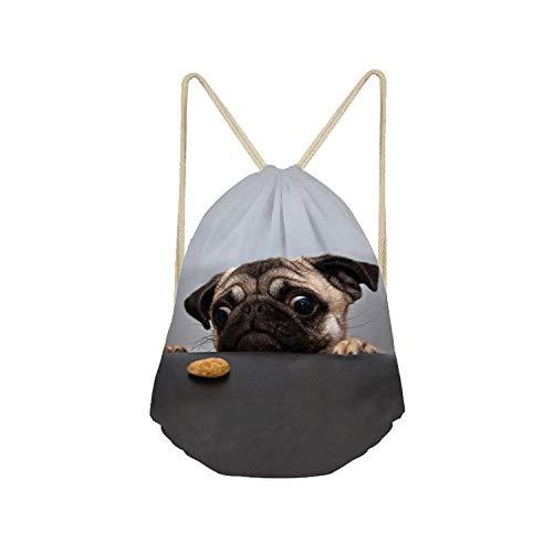 Showudesigns Funny Pugs Dog Soft Cinch Gym Bags Organizer Fitness Drawstring Bag
