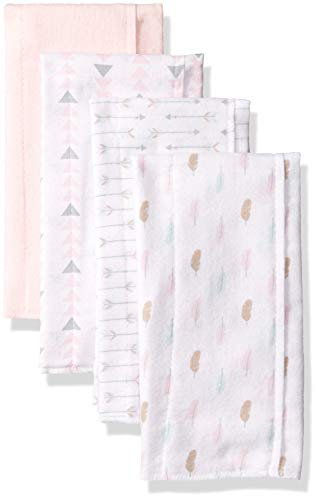 Luvable Friends Unisex Baby Cotton Flannel Burp Cloths, Girl Feathers, One Size
