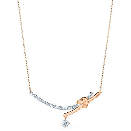 Swarovski Lifelong Heart Halskette, Damenhalskette im Metallmix mit Herzmotiv und Funkelnden Swarovski Kristallen