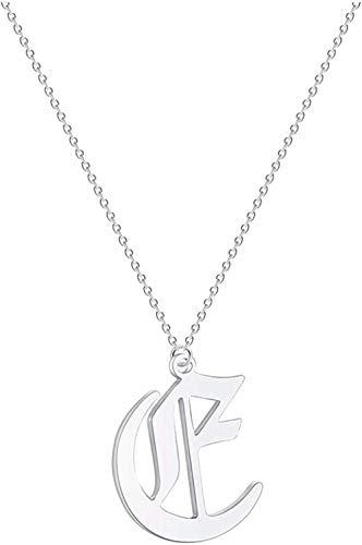 huangxuanchen co.,ltd Collar Collar Letra Inicial Mujeres Hombres Collar Acero Inoxidable Joyería De Metal Gargantilla De Cadena Vintage Collar Colgante