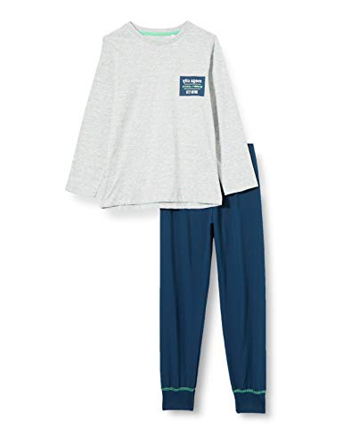Sanetta Jungen Schlafanzug lang grau Pyjamaset, hellgrau Melange, 140