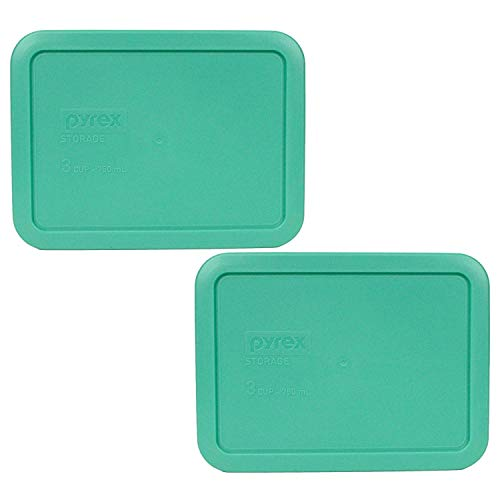 Pyrex Rectangular 3 Cup (750ml) Plastic Storage Cover (2, Green)