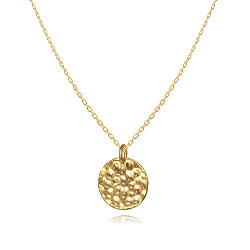 Kreis Plättchen Coin Halskette für Damen in 925 Sterling Silber mit 14K Gold vergoldet, Goldkette für Frauen Modell Mond, Kette mit Anhänger rund & gehämmert, Kettchen 40+5cm