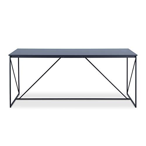 Walter Table de Repas Design Industriel Laqué Noir Métal et MDF 180 x 90 x 75 cm