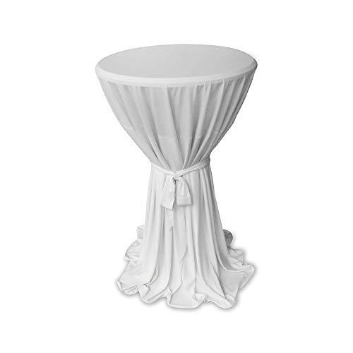 Casa Colori Elegante hochwertige Stehtischhusse Hussen Weiss mit Schleife Ø60 oder Ø80 cm Stehtischüberwurf Höhe 145cm, Farbe:Weiß, Größe:60cm rund
