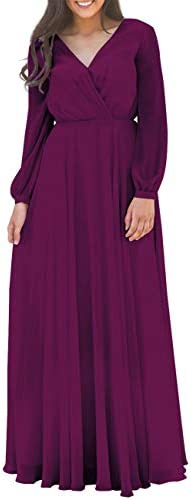 Prom Dress Long Chiffon Evening Maxi Gown Long Sleeves Bridesmaid Dresses Grape product image