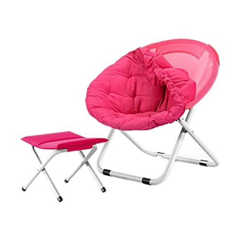 FLZXSQC Klappstuhl mit runder Rückenlehne, für drinnen und draußen, Angelstuhl, Familien-Abendessen, zusammenklappbar, tragbar, Rot