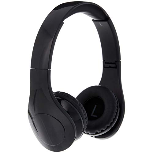AmazonBasics - Auriculares de diadema con cable, volumen limitado, para niños, con dos puertos para compartir, Negro