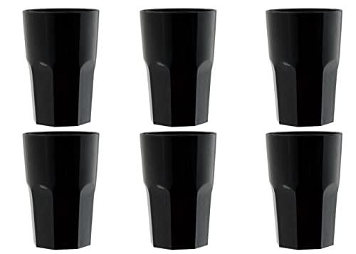 """Garnet Nero Bicchiere Riutilizzabile """"Granity 40 Set da 6 Pezzi – Lavabile in lavastoviglie-40 Bordo/ 33-35 cl a Servizio-Made in Italy, 0.4 Litri, Plastica"""