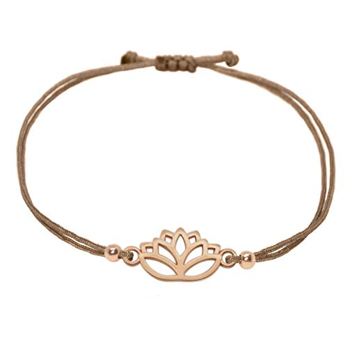Selfmade Jewelry Lotus Armband Roségold Selfmade Jewelry Lotusblüten Armkettchen - größenverstellbares Armkettchen Inkl. Geschenkverpackung (Rosegold - Braun)