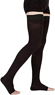 TOFLY Thigh High Compression Stockings, Opaque, Firm Support 20-30 mmHg Gradient Compression with Silicone Band, Open Toe Compression Stockings, Treatment Swelling, Varicose Veins, Edema