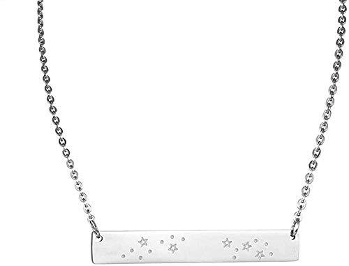 NC122 Collar con Colgante Simple de 12 Constelaciones del zodíaco, joyería de Acero Inoxidable, Collar de cáncer de Aries para Mujer, 50 cm