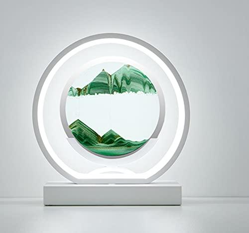 MIKUAM 3D Circle Quicksand pintura pintura lámpara de mesa regulable 3 colores LED aluminio diseño moderno lámpara de noche luz de lectura para dormitorio sala estar - Base blanca (verde Quicksand)