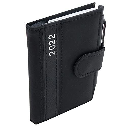 Taschenkalender 2022 A7 mit Kugelschreiber und Halterung Business Terminplaner mit Stift Organizer Timer Kalender (Schwarz)
